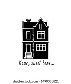 Vector card with hand drawn old house. Ink drawing, linocut style. Beautiful city and travel design elements, perfect for welcome cards