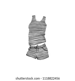 Vector card with hand drawn striped sleepwear. Ink drawing, beautiful casual fashion design elements