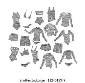Vector card with hand drawn striped swimwear. Ink drawing, beautiful casual fashion design elements