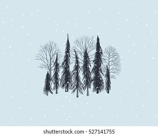 Vector card with hand drawn winter trees under the snow. Beautiful floral design elements, graphic style.
