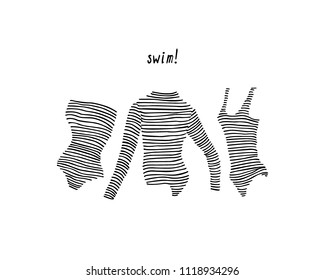 Vector card with hand drawn women's striped swimwear. Ink drawing, beautiful casual fashion design elements