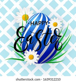 Vector card Happy Easter with lettering on decorated egg and spring flowers. Easter poster with realistic egg, green grass, blooming Bellis on hand drawn background.