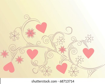 vector card with hearts and floral ornament. clipping mask