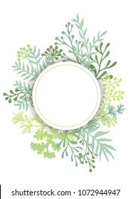 Vector card with herbal twigs and branches wreath border, round frame.  Rustic vintage bouquets with fern fronds, basil, mistletoe twigs, willow, palm branches in spring light green.
