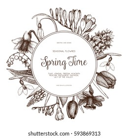 Vector card or invitation design with hand drawn spring flowers illustrations. Vintage template on white background. Botanical sketch.
