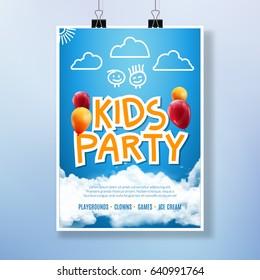 Vector card kids party event. Lettering flyer design. Cartoon banner or poster for kids event.