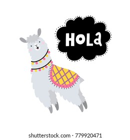 Vector card with lama and text Hola.