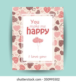 Vector card with love words. Vector  illustration for your design
