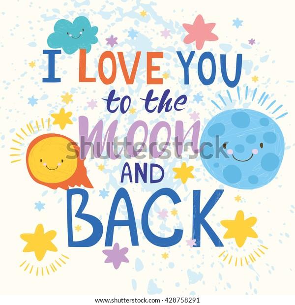 Vector Card Love You Moon Back Stock Vector (Royalty Free) 428758291