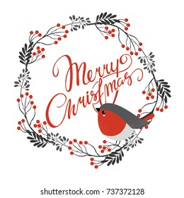 vector card. Merry Christmas. festive wreath with bullfinch. decorative elements. winter holiday. beautiful lettering.
