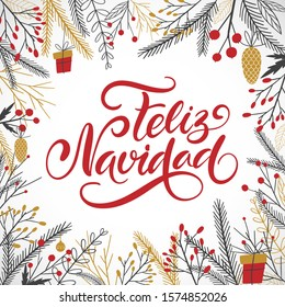 Vector card Merry Christmas translation on Spanish language Feliz Navidad. Xmas poster with winter doodle decor elements on white background.