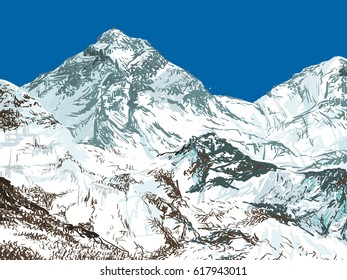 Vector card with mount Everest for your design