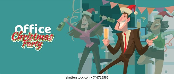 """Vector card """"Office Christmas party"""" with cartoon image of young man and two women in a red Santa's hats with champagne in hands on a blue background."""