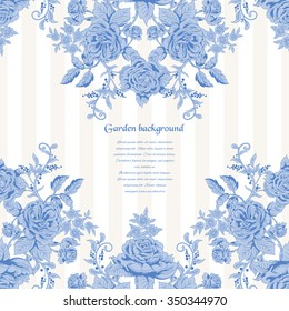 Vector card with pattern of french roses. Vintage style. Place for your text.