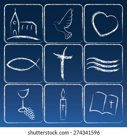 Vector card with religious symbols for various church functions