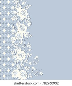 Vector card with roses, leaves, butterflies and lace. Floral blue and white background, seamless vertical border. Place for text.