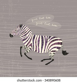 Vector card with a running zebra and space for your text