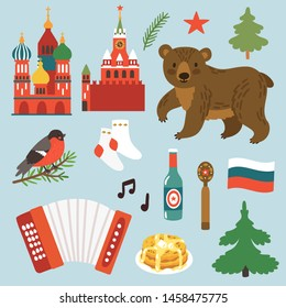 Vector card with Russian symbols: St Basil's Church, Kremlin, bear, accordion, pancakes, bear. Sticker collection with travel elements. Icon set about Russia.