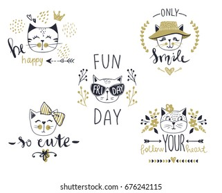 Vector Card Series With Cute Fashion Cats. Stylish Kitten Set. Trendy  Illustration In Sketch