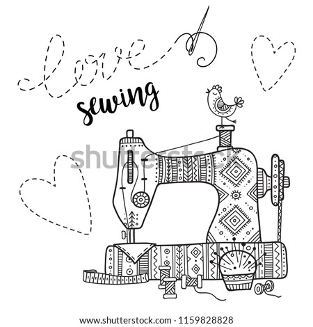 Vector Card Sewing Machine Lettering Can Stock Vector Royalty Free Cool Lettering Sewing Machine