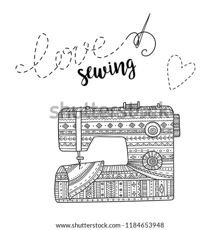 Vector Card Sewing Machine Lettering Can Stock Vector Royalty Free Beauteous Lettering Sewing Machine