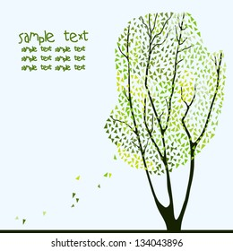Vector card with a silhouette of tree. Juicy green colors.