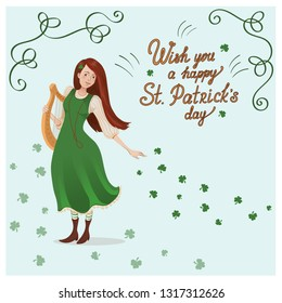 Vector card for St. Patricks day. An irish girl in a green dress with a harp.