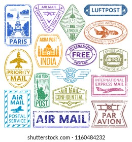 Vector card stamps vintage postage countries all over world stamp different mail grunge postmark illustration.
