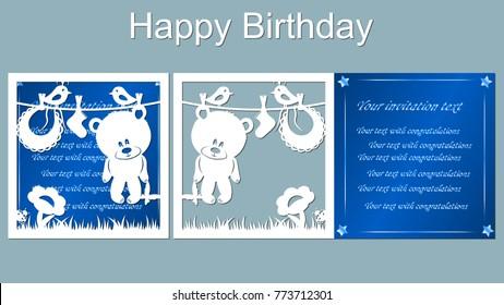 vector, card, star, bear, white and blue, butterfly, bird, grass, ladybug, flower