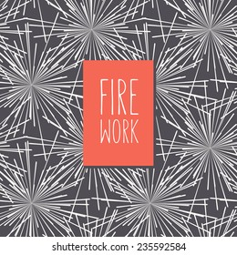 Vector card with stylized fireworks. At the base it has a seamless pattern. Red label with inscription Firework. Graphical monochrome background. Minimalist style.