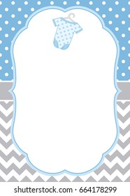 Vector card template with a baby bodysuit on polka dot and chevron background. Card template for baby boy shower, birthdays and parties with space for your text. Vector baby clothes.