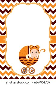 Vector card template with cute baby wearing tiger costume. Card template for baby shower, birthdays and parties with space for your text. Vector baby boy. Vector baby girl.
