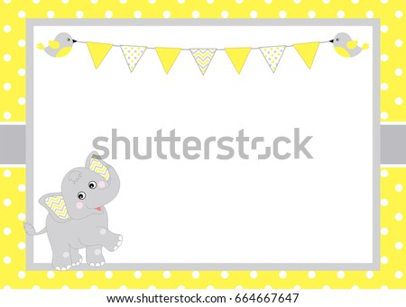vector card template cute baby elephant stock vector royalty free