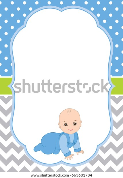 Vector Card Template Cute Baby Boy Stock Vector Royalty