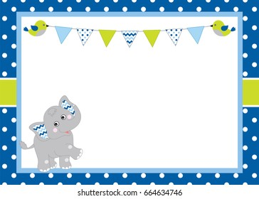 Vector card template with a cute elephant and bunting on polka dot background. Card template for baby boy shower, birthday and parties with space for your text. Vector baby boy. Vector baby elephant.