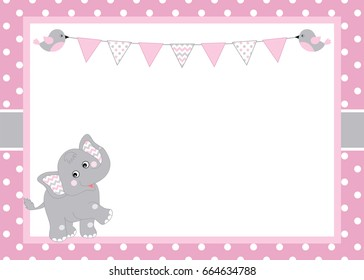 Vector card template with a cute elephant and bunting on polka dot background. Card template for baby  girl shower, birthdays and parties with space for your text. Vector baby girl. Vector elephant.