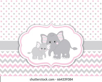 Vector card template with cute elephants on polka dot and chevron background. Card template for baby shower, birthdays and parties with space for your text. Vector baby girl. Vector baby elephant.