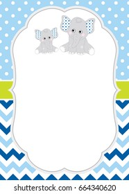 Vector card template with cute elephants on polka dot and chevron background. Card template for baby shower, birthdays and parties with space for your text. Vector baby boy. Vector baby elephant.
