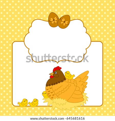 vector card template easter chicks hen stock vector royalty free