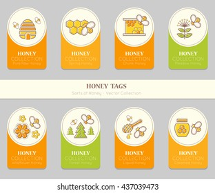 Vector card template with emblems. Natural honey tags collection (sorts of honey - pure raw, spring, chunk, meadow, wildflower, forest, liquid, creamed honey). Warm color palette of golden tints