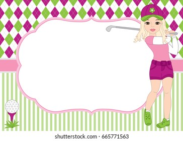 Vector card template with girl playing golf. Argyle and striped background. Card template for ladies golf tournaments, birthdays and parties with space for your text. Vector illustration.