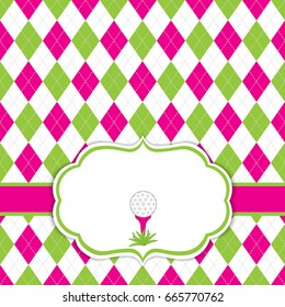 Vector card template with golf ball on tee. Argyle background. Card template for ladies golf tournaments, events, birthdays and parties with space for your text. Vector illustration.