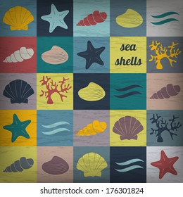 vector card template with hand drawn shells and editable retro effect