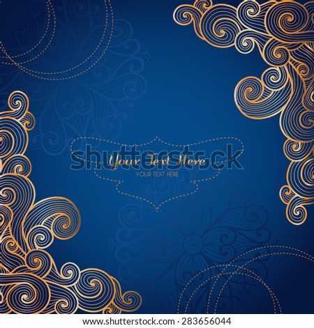 vector card template swirly gold ornament stock vector royalty free