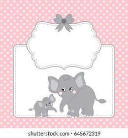 Vector card template with two cute elephants, polka dot background, frame and bow, baby shower clipart, vector illustration