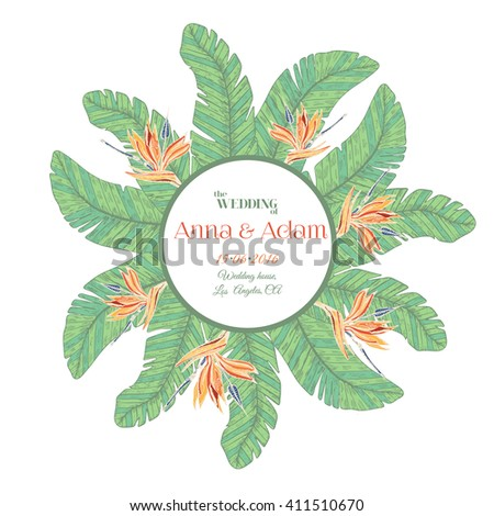 vector card templates tropical label ideal for save the date bridal shower