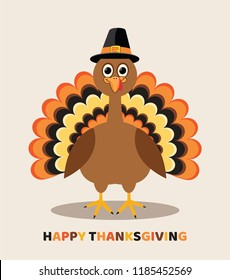 vector card for thanksgiving day with cartoon turkey bird. happy thanksgiving colorful text