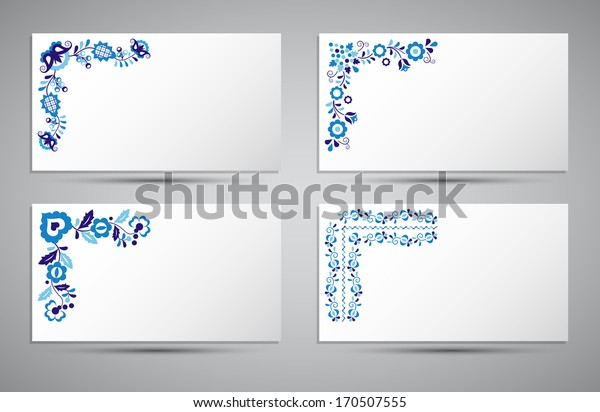 Vector card of traditional folk patterns