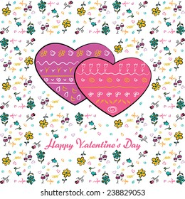 Vector card, Valentine, two hearts, sketch