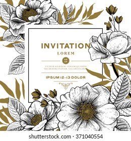 Vector Card with Vintage Victorian Graphic Floral Composition. Blank for Greeting Postcard, Wedding Invitation or Any Design.